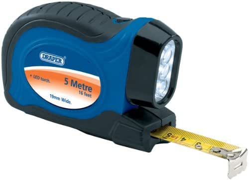 Draper 30840 5M/16FT Soft Grip Measuring Tape With 3 Led Torchlight.