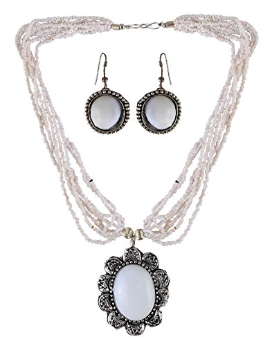 Arittra Alloy Tribal Design White Silver Multi larri Pendal ethnictraditionaltribal antique style choker style Necklace Set with matching earrings for women and girls-Valentine gift,todays,deal,party,casual,discount,offer,sale,clearance,lightning,festival,fashion,wedding,summer