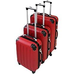 Todeco - Set de Valises, Bagages pour Voyage - Matériau: Plastique ABS - Roues: 4 roues à rotation 360° - Coins protégés, 51 61 71 cm, Rouge, ABS