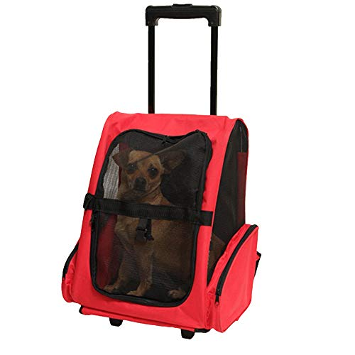 OTENGD Tracolla per Animali Domestici Trolley per Viaggi Trolley Tote per Ruote Intorno a 4-in-1 Ventosa per reti Inclusa Tether Maniglia telescopica per Gatti Cani Piccolo Animale