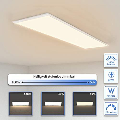 OUBO Deckenlampe Deckenleuchte LED Panel dimmbar 120x30cm Warmweiß / 40W/ 3700lm / 3000K / Flurlampe Decke Wandleuchte Schlafzimmer Kinderzimmer