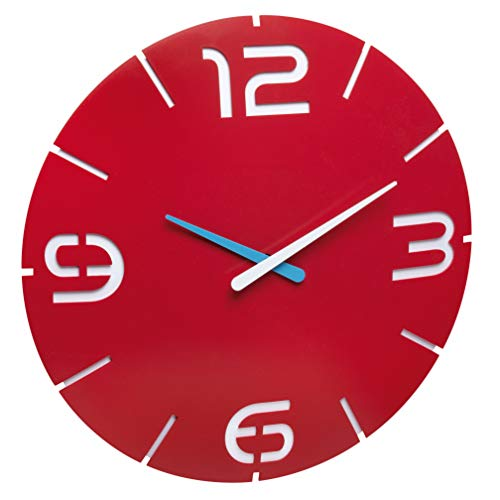 TFA Dostmann Contour Design 60.3047.05-Orologio da Parete in plastica, Colore: Rosso/Bianco, Diametro 350X (H) 35mm,