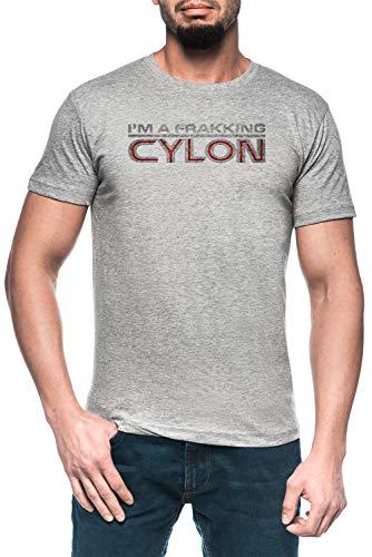 Luxogo Im A Frakking Cylon Uomo Grigio T-Shirt Maglietta Maniche Corte Men's Grey T-Shirt
