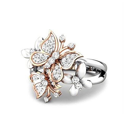 Fansi 1Pieza Plata Bohemia Mariposa Diamante Anillo para Mujer decoración Anillo Vestir, aleación, Argent A, diamètre1.98 cm, circonférence: 6.21 cm.