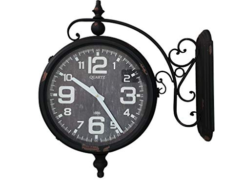 DynaSun Art Old Time 54x55x16 cm Orologio Stazione Doppio Quadrante da Parete in Metallo Vintage Stile Retro Decorazione Casa Soggiorno Cucina Effetto Anticato