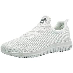 Zapatillas Deportivas de Hombre Zapatos para Correr Deporte Tenis Running Fitness Gimnasio Súper Ligero Bambas Sneakers Calzado Casual Blancas EU 45
