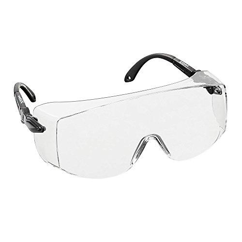 voltX \'OVERSPECS\' Gewerbliche Schutzbrille für Brillenträger im Industriewesen - CE EN166f Zertifiziert (klare Scheibe) - anpassbarer Bügel - beschlagfrei, Kratzfest, UV Schutz - Safety Overglasses