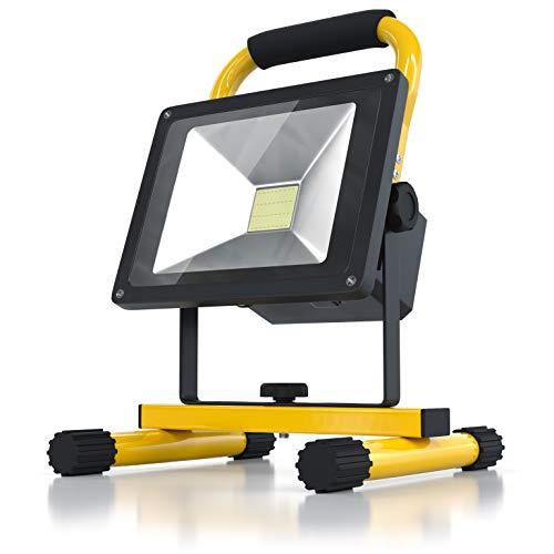 BRANDSON - Akku LED Baustrahler - Arbeitsscheinwerfer - Bauscheinwerfer - Arbeitsleuchte - 20 Watt - Akkukapazität 6600 mAh - LED Fluter mit 1600 Lumen - für den Innen- und Außenbereich - gelb