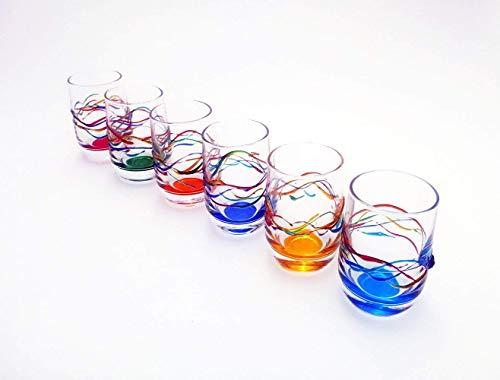 Set 6 Bicchieri liquore Jazz in Vetro dipinti a mano Murano Style Venezia