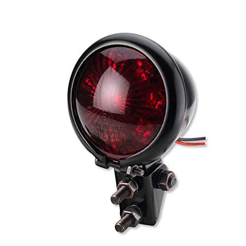 Motorrad LED Rücklicht Bremslicht Bates Style Schwarz Rotes Glas E-geprüft Custom Cafe Racer