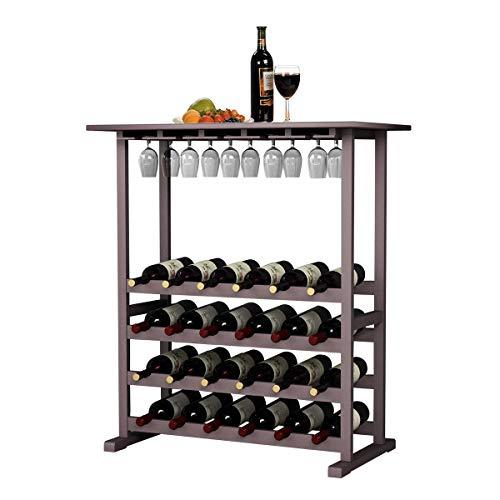 DlandHome Portabottiglie di Vino per 4 Ripiani con 24 Bottiglie e Bicchieri da Vino, Scaffale...