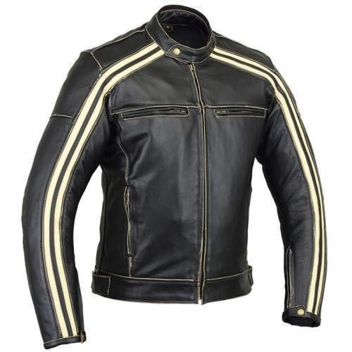 Bikers Gear UK Retro Schwarz Cafe Racer die Bonnie 100% Bovine Leder Motorrad-Jacke CE Armoured–Elfenbein Streifen 1