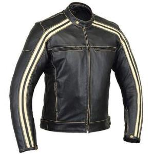 Bikers Gear UK Retro Schwarz Cafe Racer die Bonnie 100% Bovine Leder Motorrad-Jacke CE Armoured–Elfenbein Streifen 3