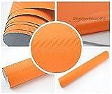 3,22/m² 3D Carbon Folie - Orange - 100 x 152 cm selbstklebend flexibel Car Wrapping Folie