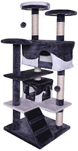 katzeninfo24.de dibea KB00303 Kratzbaum – Kletterbaum für Katzen (Höhe 130 cm), Grau/Weiß
