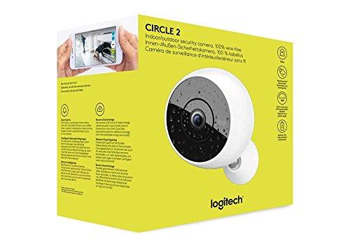 Logitech-Circle-2-Camra-de-Surveillance-Wifi-IntrieurExtrieur-Rsistante-aux-Intempries-Vision-Nocturne-Dtection-de-Personnes-Enregistrement-sur-24-Heures
