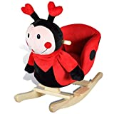 vidaXL Mariquita Balancín para Niños Pequeños Roja Mecedora de Animal de Bebé