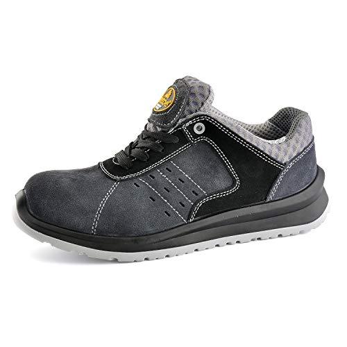 Zapatos de Seguridad Ultra-Ligeros para Hombres - SAFETOE 7331 Zapatillas Trabaja con Tus pies Bien protegidos (Talla 43, Gris)