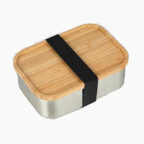 UJNCIKFNK Bento Box 304 in Acciaio Inox Copertura Pranzo Scatola Scatola Piazza Bamboo Copertina -a...