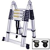 SAILUN Teleskopleiter Klappleiter Ausziehleiter aus hochwertigem Alu Teleskop-Design Mehrzweckleiter, 16 Sprossen - 90cm bis 5m Anlegeleiter, 150 kg Belastbarkeit (5m klappbar)