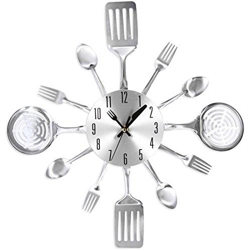 Likeluk Orologio da Cucina 15 Pollici (38 cm) Posate Design Orologio da Parete Silenzioso Cucina Orologio Decorativo Cutlery Kitchen Wall Clock, Acciaio Inox