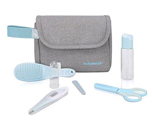 Babymoov Baby-Kulturtasche - Pflege-Set, für Babys 6-teilig, mit digitalem Fieberthermometer, grau-türkis
