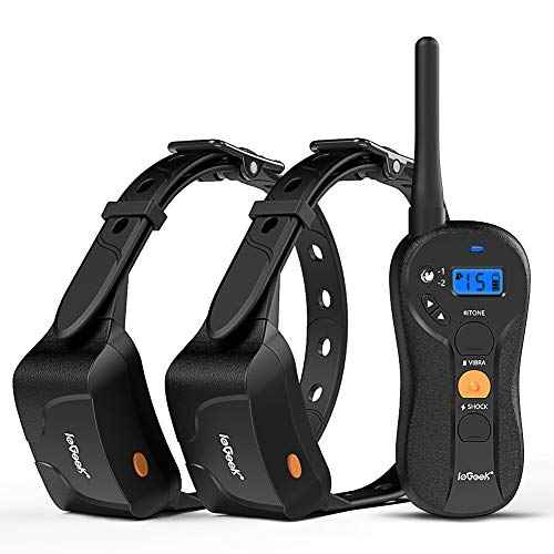 ieGeek Rechargeable and Waterproof 1960 ft Blind Operation Remote Controlled Electric Dog Training Shock Collar with Tone/Vibration/Shock for 2 Small/Medium/Large Dogs