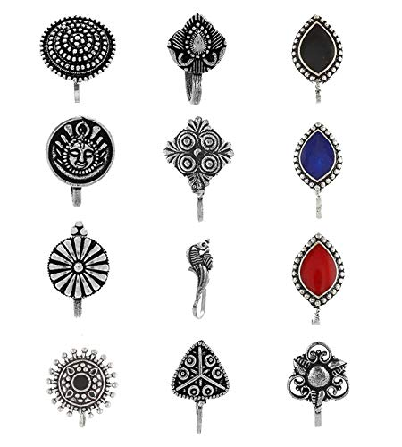 Anuradha Art Silver Oxidised Tone Wonderful Multi Colour Press On Combo Pack Nose Ring/Nose Stud/Pin for Women/Girls 1  Anuradha Art Silver Oxidised Tone Wonderful Multi Colour Press On Combo Pack Nose Ring/Nose Stud/Pin for Women/Girls 41RaXaCEGjL