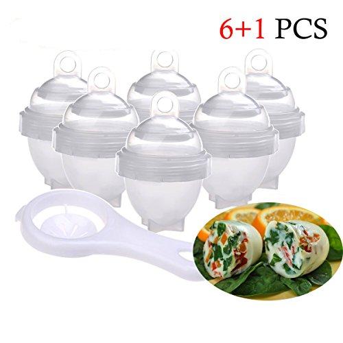 Cuiseur à œufs, braconniers à œufs en silicone de qualité supérieure non collés avec un séparateur albuminé sans BPA et blanc lavable au lave-vaisselle (paquet de 7)