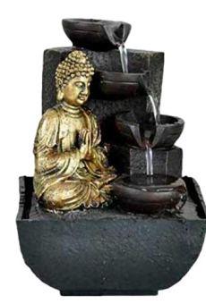 KERALA Fuente de Agua Interior con Buda meditando en Dorado, con Cascada de Piedra. con Bomba eléctrica. Tamaño 18X13,30…