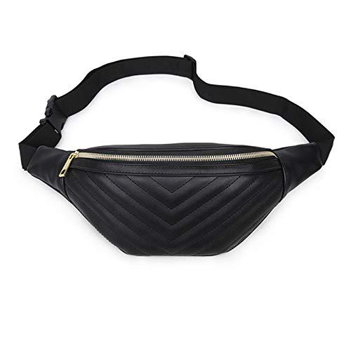 Geagodelia Bauchtasche Gürteltasche für Damen Mädchen Stylische PU Hüfttasche mit Verstellbarer Gurt für Reise Wandern Outdoor Festival FB18061 (Schwarz)