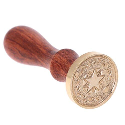 prettygood7 Retro Holzstempel Magic Matrix Siegelwachs Antik Stempel mit Buchenheft, B