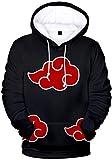 EMILYLE Uomo Naruto Felpe Uchiha Clan Sweatshirt Yondaime Rokudaime Sharingan Anime Giapponesi Fans Top L,Nuvole Rosse