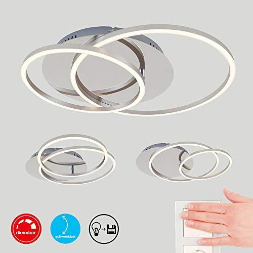 Briloner Leuchten LED Deckenleuchte, Deckenlampe dimmbar, inkl. Memoryfunktion, Drehbar, 3.200 Lumen, Chrom-Alu, Ø 30cm, 40 W