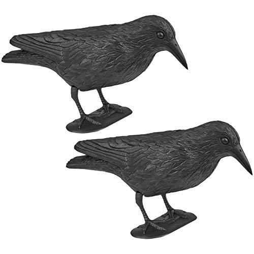 Wellgro 2 x Vogelschreck - Krähe sitzend - Kunststoff, schwarz