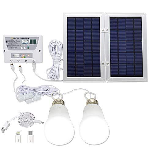 [Panel plegable de 6 W] Sistema de luz solar YINGHAO, kit de sistema de energía solar para el hogar, batería de litio de 3,7 V - Kit de sistema solar de 6 W para el hogar - Incluye 3 cargadores de teléfono celular - 2 luces LED