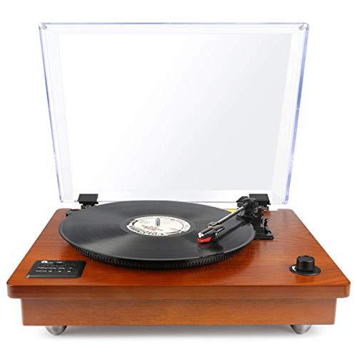 1byone Platine Vinyle Bluetooth avec Haut-Parleurs stéréo intégrés, Style Rétro, Enregistrement Vinyle vers MP3, Marron