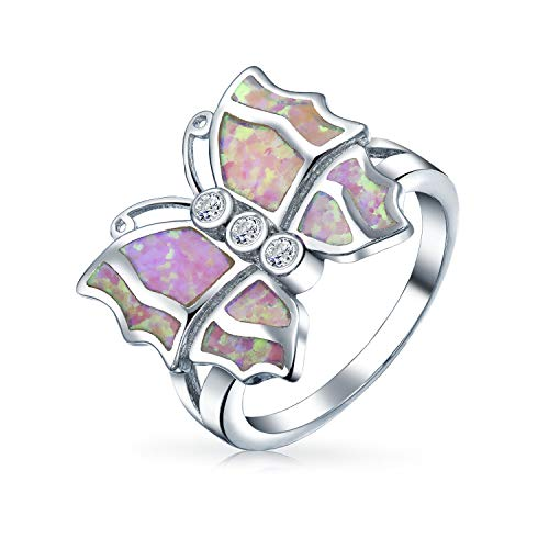Cz Acento Zirconio Cúbico Moda Rosa Creado Opal Mariposa Anillo Para Adolescente Para Mujer 925 Plata De Ley 925