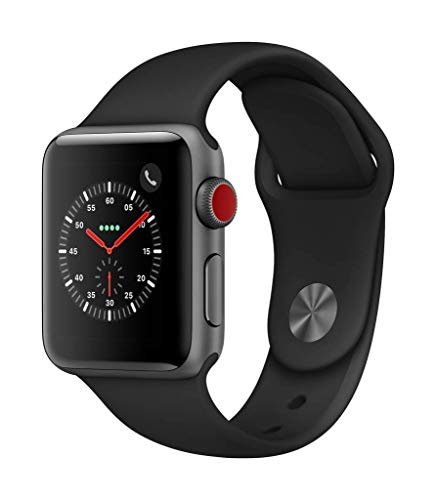 AppleWatchSeries3 (GPS+Cellular) concaja de 38mm de aluminio engris espacial ycorrea deportiva negra