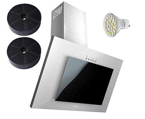 Haag, cappa aspirante Verticale C, in Acciaio inossidabile + Vetro nero + LED, con filtro a carbone...