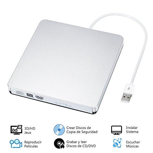 TOPELEK Unidad Externa de CD/DVD, Portátil Grabadora y Lector de CD DVD y Reproductor Ultra Slim, Bajo Consumo de Energía, Transferencia Rápida de Datos, para Win7 / WIN8 / XP / Vista / Linux / Mac OS