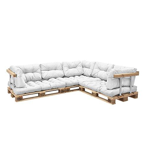 [en.casa] Divano paletta - a 5 posti con cuscini - (bianco) set completo incl. bracciolo e schienale
