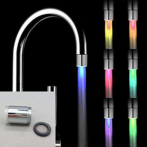 Upolymall 7 Color Glowing LED Tap LED Water Filter Faucet Light Color Changes