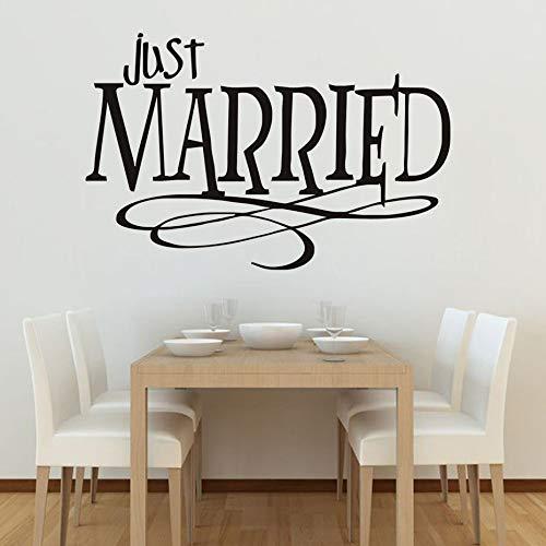 Rimovibile Just Married Design creativo Wall Sticker PVC impermeabile Citazioni Soggiorno camera da...