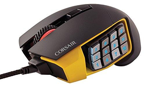 Corsair Gaming CH-9304011 Scimitar Pro Multi-Colour RGB Beleuchtung Performance 16000 DPI Optisch Gaming Maus, Schwarz/Gelb 27