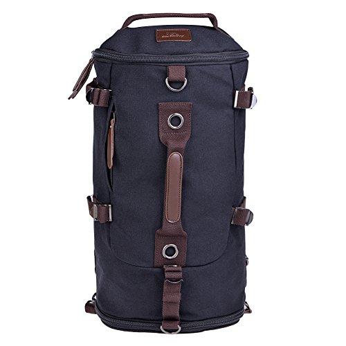 Vbiger Sac à Dos Portable en Bandoulière de Toile Unisexe Multifonctionnel pour Voyage Randonnée Camping (Noir)