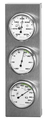Sunartis 3-4013 THB197 Stazione metereologica in Acciaio Inox con barometro, igrometro e termometro