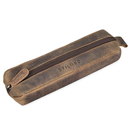 STILORD 'Quinn' Astuccio in pelle vintage Portapenne cuoio con cerniera grande Porta matite penne...