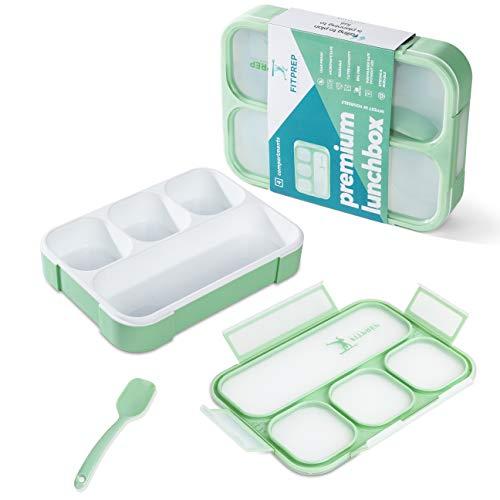 FITPREP® Lunchbox Meal Prep Bento Brotdose - 1 Stück - 4 Fächer - Dicht - BPA frei- für Kinder & Erwachsene inkl tollem Ebook mit Rezepten - von Hand Spülen empfohlen