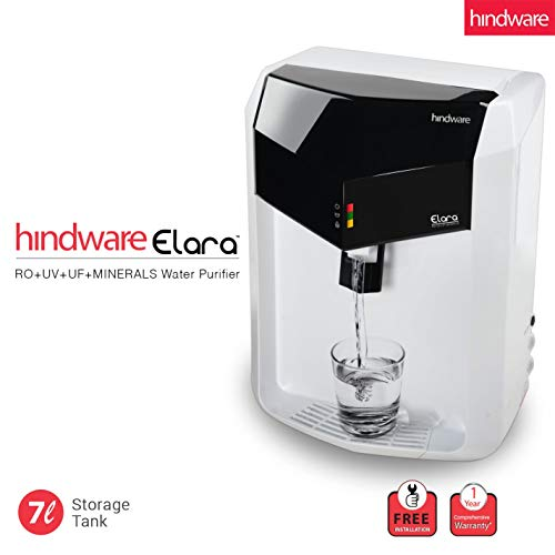 Hindware Elara 7-Liter RO+UV+UF+Mineral Fortification Water Purifier with Free Installation (White and Black)